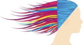 wavy färgrikt hår Fotografering för Bildbyråer