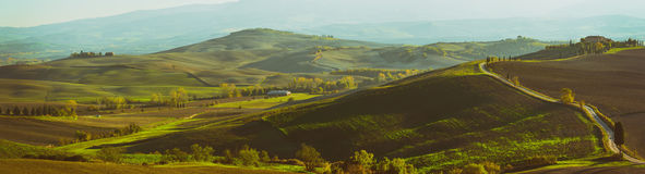 Wavy fields in Tuscany Royalty Free Stock Photos