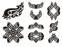 Wavy fish symbols. The stylization of fish, double symbols and frames formed from her Royalty Free Stock Image