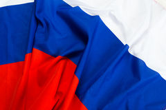 Wavy flag of Russia. Close up shot of wavy flag of Russia Royalty Free Stock Photography