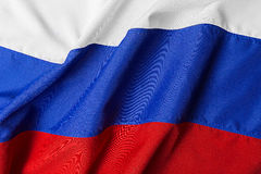 Wavy flag of Russia Stock Photo