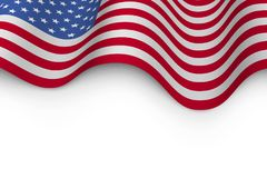 Wavy flag of United States of America. With shadow. USA flag background with white copy space. Vector illustration Royalty Free Stock Images