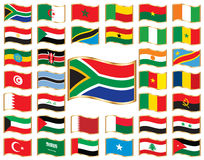 Wavy flags with gold frame - Africa & Middle East. Set. 36 icons. Original size of SAR flag in up left corner stock illustration