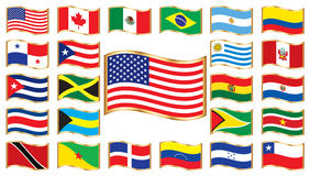 Wavy flags with gold frame - America. Set. 24 icons. Original size of USA flag in up left corner stock illustration