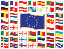 Wavy flags with gold frame - Europe. Set. 47 icons. Original size of EU flag in up left corner vector illustration