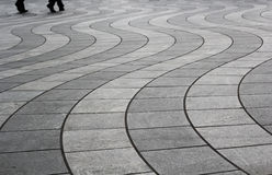 Wavy floor pattern in canary wharf Royalty Free Stock Image