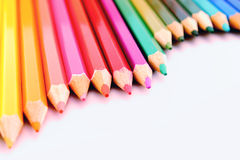 Wavy form Set of color pencils Royalty Free Stock Photos