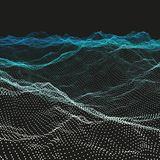 Wavy Grid Background. Ripple Grid. Abstract Vector Illustration. 3D Technology Style. Illustration with Dots. Network Design with Particle vector illustration