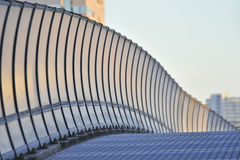 A wavy guardrail on the road. Undulating guardrail on the Gulf road Stock Image