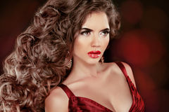 Wavy Hair. Beauty Portrait of beautiful brunette woman with long Royalty Free Stock Images