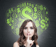 Wavy hair woman, hush and a dollar sign cloud Stock Photo