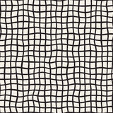 Wavy Hand Drawn Lines Square Grid. Vector Seamless Black and White Pattern. Stock Photography