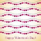 Wavy hearts Valentine's Day card Stock Image