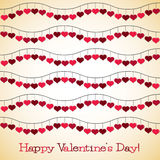 Wavy hearts Valentine's Day card Royalty Free Stock Images