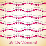 Wavy hearts Valentine's Day card Stock Images