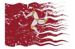 Wavy Isle Of Man Flag Grunged Royalty Free Stock Photo