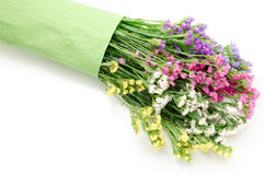 Wavy leaf sea lavender bouquet. On a white background Stock Images