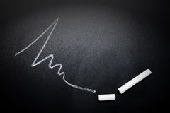 Wavy-line-and-broken-chalk-stick-on-blackboard-focus-on-chalk-fa Royalty Free Stock Photo