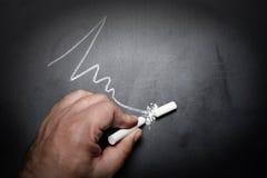 Wavy-line-and-broken-chalk-stick-on-blackboard-focus-on-chalk-fa. Ilure-concept idea Stock Photos