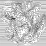 Wavy line deformation. Abstract monochrome striped glitch background. Vector illustration.  stock illustration