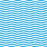 Wavy line seamless pattern in blue and white. Simple retro navy style vector background Stock Image