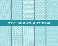 Wavy line seamless patterns Royalty Free Stock Image
