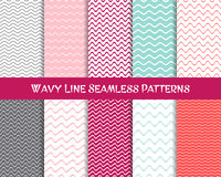 Wavy line seamless patterns collection Royalty Free Stock Photo