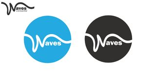 Wavy line waves logo set brand insignia clean wavy line design Royalty Free Stock Images