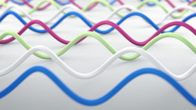 Wavy lines abstract 3D render. Wavy lines. Abstract 3D render illustration Stock Illustration