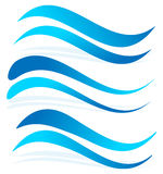 Wavy lines as water elements. Dynamic undulating, billowy blue l. Ines- Royalty free vector illustration Stock Photography