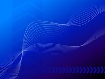 Wavy lines on blue background Stock Images
