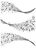 Wavy lines of music notes Royalty Free Stock Photography