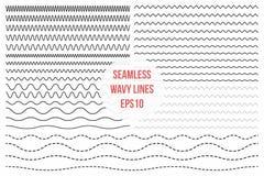 Wavy lines set. Horizontal seamless thin zig zag, criss cross and wavy lines for brushes Royalty Free Stock Photo