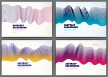 Wavy lines vector fluid abstract backgrounds set. 3d colorful gr. Adient motion art. Lined texture, dynamic surface, curve lines, flow shape stock illustration