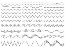 Wavy lines. Wiggly border, curved sea wave and seamless billowing ocean waves vector illustration set vector illustration