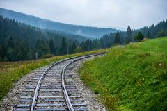 Wavy log railway tracks in wet green forest with fresh meadows. In slovakia Orava royalty free stock image