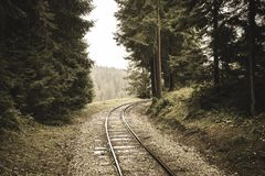 Wavy log railway tracks in wet green forest with fresh meadows - vintage retro look. Wavy log railway tracks in wet green forest with fresh meadows in slovakia stock photography