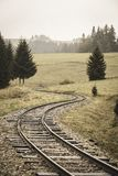 Wavy log railway tracks in wet green forest with fresh meadows - vintage retro look. Wavy log railway tracks in wet green forest with fresh meadows in slovakia royalty free stock image