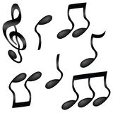 Wavy musical notes. A selection of wavy black musical notes isolated on white Royalty Free Stock Photo