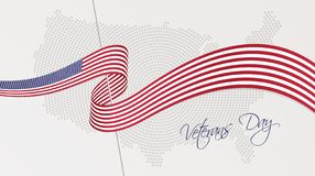 Wavy national flag and radial dotted halftone map of the United States of America stock illustration