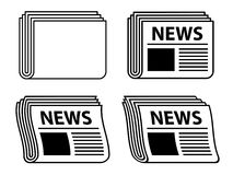 Wavy newspaper black symbols Stock Photos