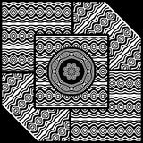 Wavy panels pattern. Wavy panels abstract geometric art in black and white vector illustration