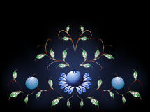 Wavy pattern of  blue flowers on a black blue base Royalty Free Stock Image