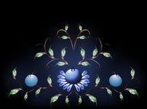 Wavy pattern of  blue flowers on a black blue base Stock Photos