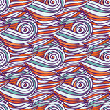 Wavy pattern. Creative doodle wave seamless Royalty Free Stock Images