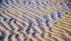 Wavy pattern of wet sand on the beach. Stock Photo