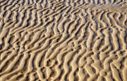 Wavy pattern of wet sand on the beach Royalty Free Stock Photography