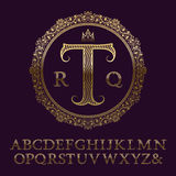 Wavy patterned gold letters with initial monogram. Elegant font royalty free illustration