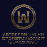 Wavy patterned gold letters and numbers with w initial monogram Royalty Free Stock Images