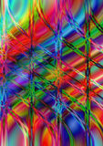 Wavy and perpendicular line on bright multicolored background Stock Photos